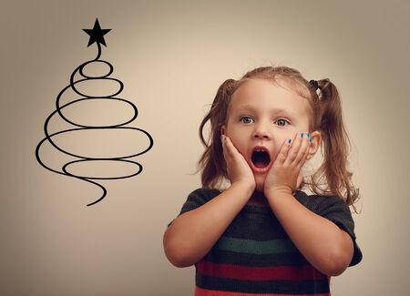 surprising: Fun surprising happy child girl looking on christmas fur tree illustration.