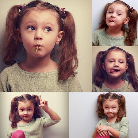 collage caras: Collage Fun (colección) de la muchacha del cabrito contento con humor diferentes emociones. Mostrando lengua, chupando el caramelo