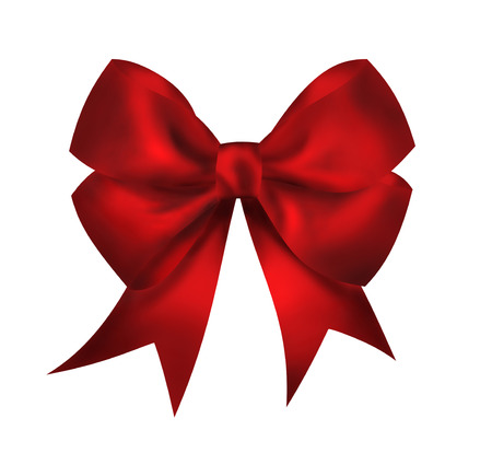 Realistic bright red bow isolated on white background. Closeup llustration