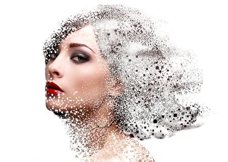 dispersion: Fashion portrait of makeup woman face with pixeled dispersion effect. Art closeup portrait isolated on white background