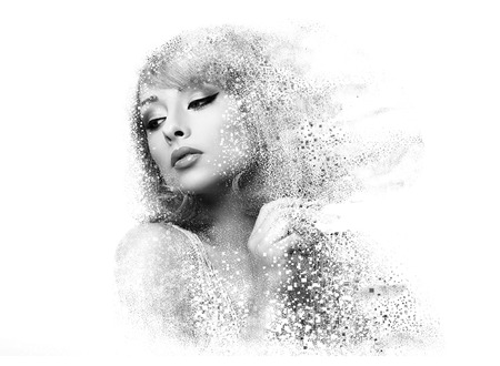 dispersion: Fashion makeup woman with pixeled dispersion effect. Art closeup portrait isolated on white background. Black and white