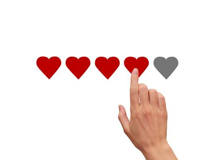 Woman hand touching, clicking on five red hearts illustration isolated on white background. The best rating, evaluation. Business woman voting the hand and choosing four hearts Banco de Imagens