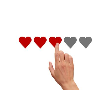 Woman hand touching, clicking on five red hearts illustration isolated on white background. The best rating, evaluation. Business woman voting the hand and choosing three hearts