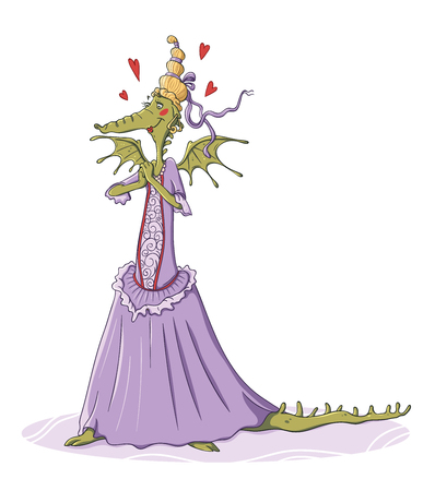 Lady dragon that is in love wearing a dress