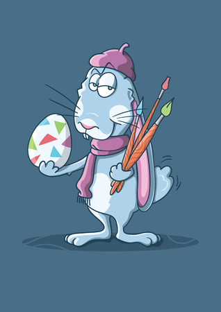 Its a vector illustration about an Easter bunny dressed as a french artist and holding a decorated egg