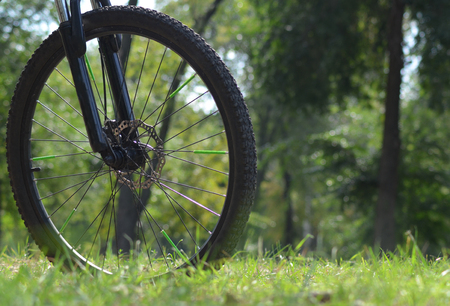 front wheel of bicycle. bicycle parts. bicycle, tire, bike, biking outdoor circle transport