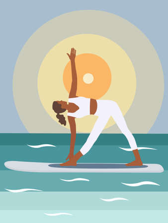 A black woman does stand-up rowing sup yoga on a paddle Board on the water by the sea. Stand Up Paddle Yoga Workout