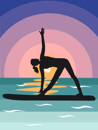 silhouette a black woman does stand-up rowing sup yoga on a paddle Board on the water by the sea. Stand Up Paddle Yoga Workout