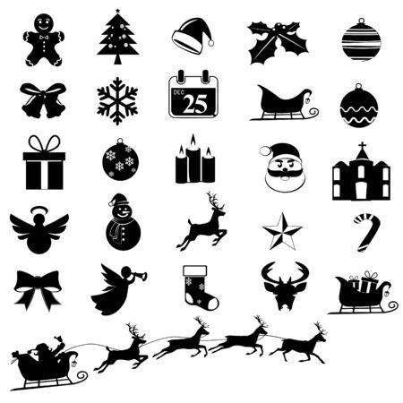 Sammlung von Weihnachts- und Feiersymbolen