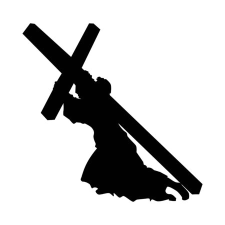Jesus christ carrying the cross vector