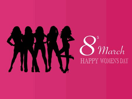 March 8 holiday with a group of women pink background and flat vector