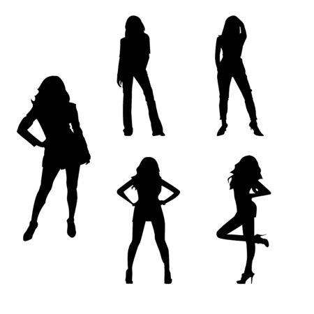 Set Silhouette of a woman vector Vektorgrafik
