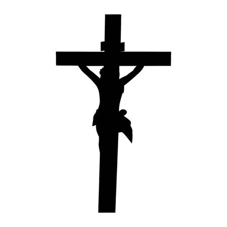 The silhouette of jesus crucified vector