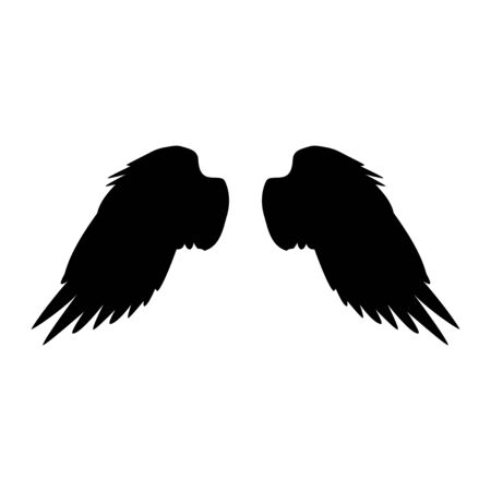 Black silhouette, angel wings vector