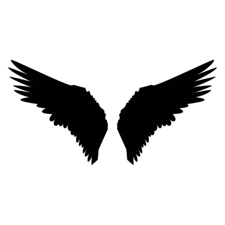 Dark winged angel shadow vector