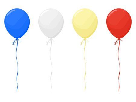 Balloon red, white, gold, blue on a transparent background vector Ilustração Vetorial