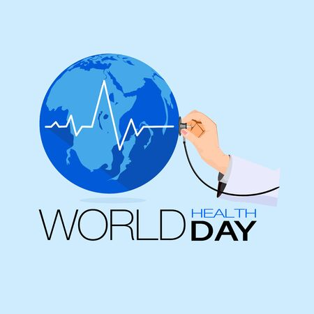 Stethoscope The world on light blue background, concept of world health day