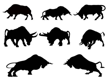 Silhouette Bull, Stock market uptrend on a transparent background vector