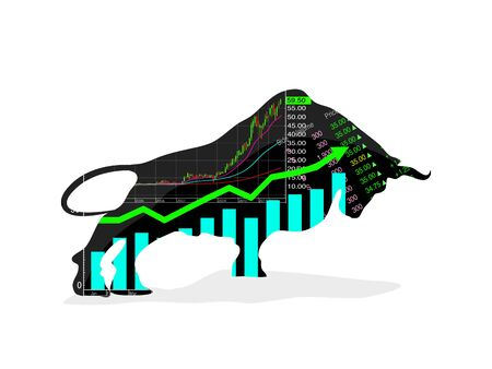 Stock market vector Forex symbol bull Growing market On a white background