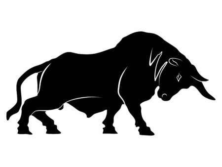 The silhouette of a bull is ready to attack the stock market uptrend on a transparent background vector