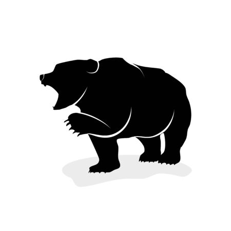 Bearish silhouette vector on a white background stock