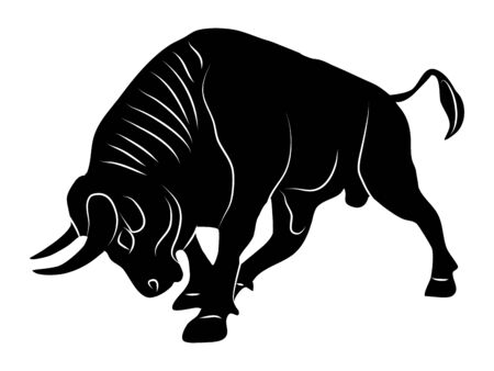 Bull silhouette attack logo On a transparent background vector