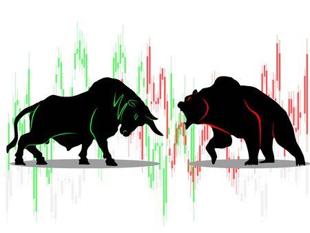 bull vs bear symbol of stock market trend on white background Illustration vector