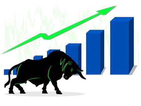 The concept of the bull market in the stock market good situation vector