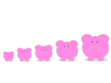 Piggy piggy banks are arranged into financial and banking business procedures