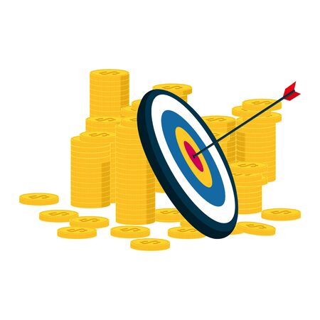 Arrow target profit, shoot to aim at achieving excellent results, financial benefits Business