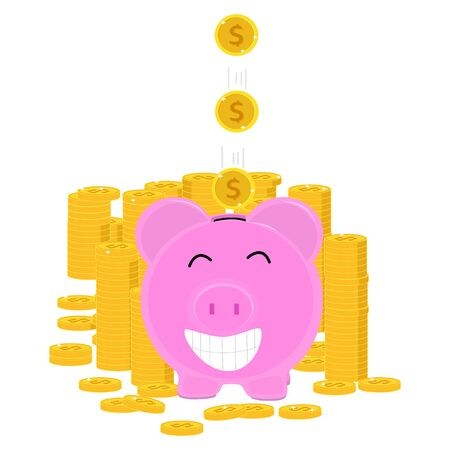 Piggy bank and falling gold coins The concept of saving or saving money or opening bank accounts.Vector