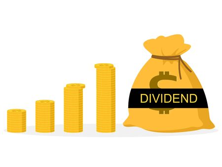 vector The money bag has the word Dividend.The company spreads profits.finance and investment, dividend tax