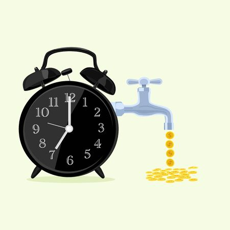 exchanging time with money, selling life time on a yellow background Иллюстрация