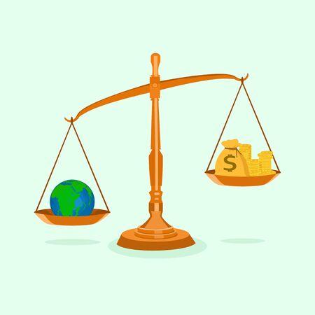 Geld und die Welt im unausgeglichenen Maßstab Das Konzept der Ressourcen in der Welt ist mehr wert als Geld Vektorgrafik