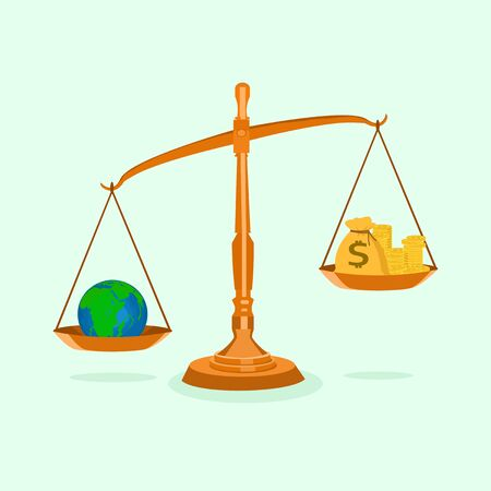 Money and the world on unbalanced scales The concept of resources in the world is worth more than money Vektoros illusztráció
