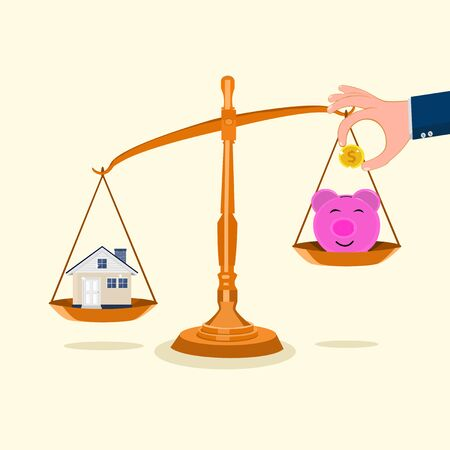 Piggy bank and the house on the scales Money saving ideas for homes