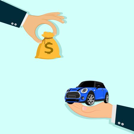 Hands and cars Buying new car concept.a businessman hand exchanging a new car for money Vettoriali