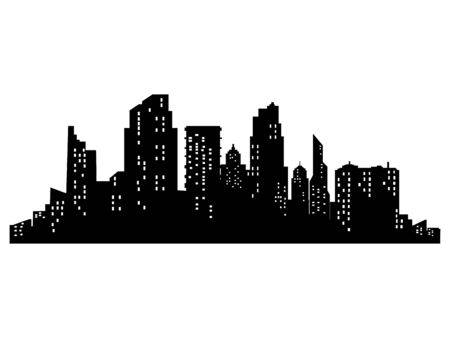 vector Dark silhouettes of buildings and cities at night on transparent background