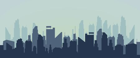 vector Silhouette of the city.Modern panoramic Urban city tower illustration.wallpaper.Silhouette of skyscrapers