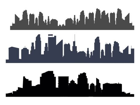 Silhouette of the city.panoramic tower on transparent background