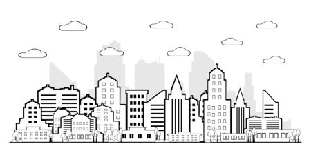 City landscape.Downtown landscape with high Urban life Vector