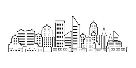 City Building Line art vector design illustration on white background vector