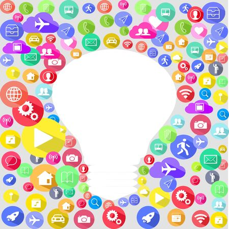 Multi Colored social media icon surface with a light bulb shape element background
