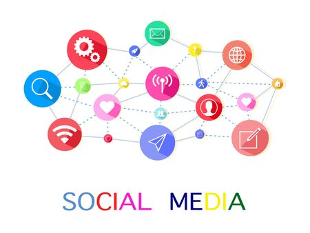 Vector social media.Communicating words with colorful interactive speech bubbles