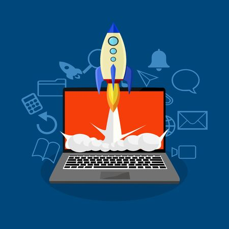 Vector illustration of laptop and rocket with icons in communication set Startup ideas eps