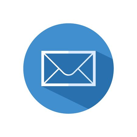 White Mail and e-mail icon isolated with long shadow. Envelope symbol e-mail. Email message sign.Vector
