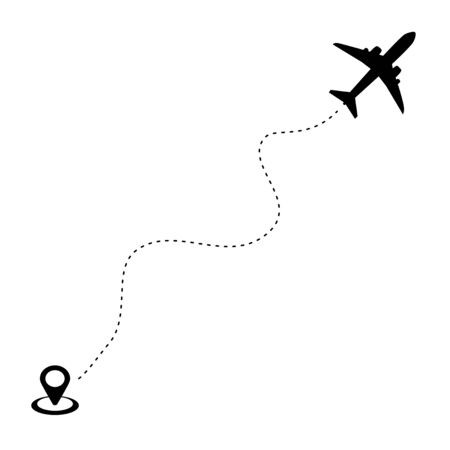 Plane icon and airplane flight path with a start point and dashed track.Vector illustration eps