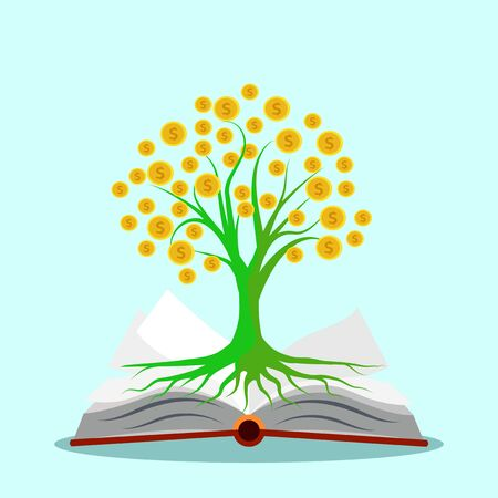 Open a book and money tree.The concept of making money from books.Vector Illustration eps