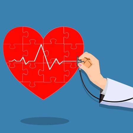 Doctor and Heart.Health check.Concept of treatment.vector illustration eps 矢量图像