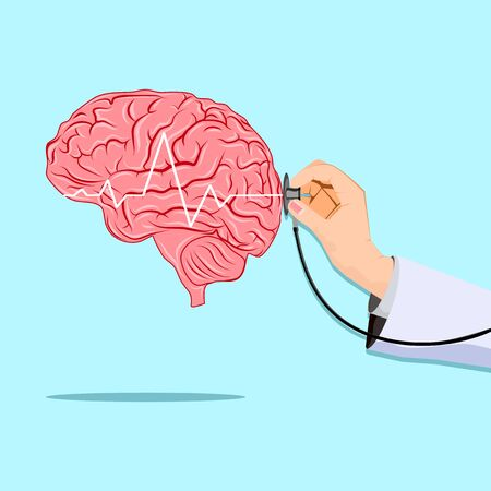 doctor treat brain.Medical illustration.Brain health check banner.vector illustration eps Vectores